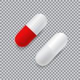 套红色和白色传染媒介现实药片 图库摄影