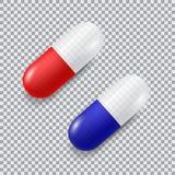 套红色和蓝色传染媒介现实药片 免版税库存照片