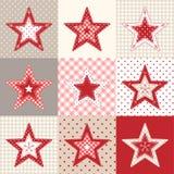 套红色和蓝色补缀品装饰星,圣诞节动机例证 免版税库存照片