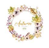 套红色和黄色秋天水彩离开和莓果,手拉的设计叶子元素装饰 库存例证