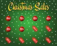 套红色圣诞节销售和折扣纸标记 库存例证