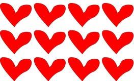 套红色,美好对天圣洁华伦泰心脏, 免版税库存图片
