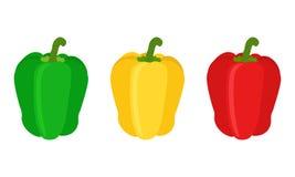 套红色,黄色,绿色甜椒胡椒 平的样式 库存照片