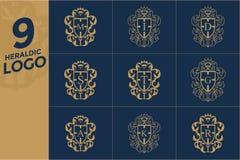 套纹章商标设计模板 免版税库存图片