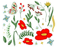 套纺织品设计元素的美好的花刺绣传染媒介 库存照片