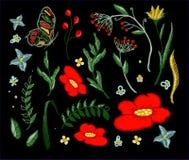 套纺织品设计元素的美好的花刺绣传染媒介 免版税库存图片