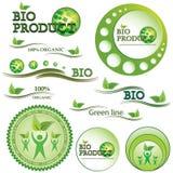 套绿色生物和有机徽章 免版税库存图片