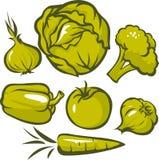 套绿色蔬菜 免版税库存照片