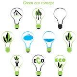 套绿色eco概念,在电灯泡里面的要素 库存图片