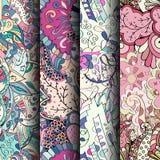 套网眼图案五颜六色的无缝的样式 纺织品的弯曲的乱画的背景或打印与mehndi和种族动机 免版税图库摄影