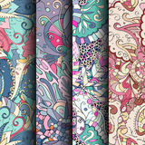 套网眼图案五颜六色的无缝的样式 纺织品的弯曲的乱画的背景或打印与mehndi和种族动机 免版税库存图片