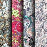 套网眼图案五颜六色的无缝的样式 纺织品的弯曲的乱画的背景或打印与mehndi和种族动机 库存照片