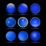 套网站的深蓝圆的按钮 免版税图库摄影