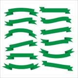 套美丽的欢乐绿色丝带 也corel凹道例证向量 免版税库存图片