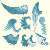 套美丽的逗人喜爱的动画片蓝色和白色翼 库存照片
