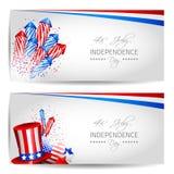 套美国独立日卡片-传染媒介 库存图片