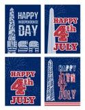 套美国7月美国独立日四的葡萄酒设计  设计在与华盛顿纪念碑的美国国旗颜色 图库摄影