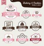 套美好的面包店和面包标签设计 库存图片