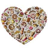 套美好的食物动画片乱画反对,标志和项目 皇族释放例证