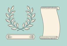 套老葡萄酒丝带横幅和月桂树在板刻样式缠绕 手拉的设计元素 也corel凹道例证向量 免版税库存照片