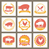 套肉店标签和设计元素 免版税图库摄影