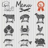 套肉店标签和设计元素 免版税库存照片