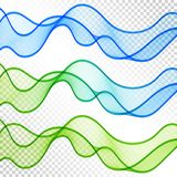 套背景的蓝色和绿色透明波浪线 向量例证