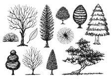 套自由手拉的树剪影,传染媒介例证设计 免版税图库摄影