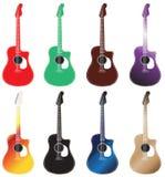 套色的声学吉他在2行安排了 免版税库存图片