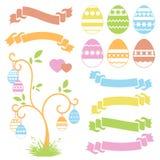 套色的被隔绝的甜复活节彩蛋和丝带横幅在白色背景 抽象欢乐树 简单的平的传染媒介illust 皇族释放例证