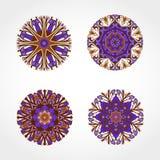 套色的装饰圆的装饰品 向量 库存照片