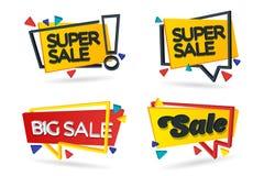 套色的贴纸和横幅 在3d样式的几何形状 套美丽的折扣和促进横幅 广告el 免版税库存图片