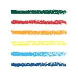 套色的铅笔小条 套传染媒介五颜六色的刷子 抽象手拉的冲程 库存图片
