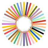 套色的铅笔锋利在白色背景的圈子中间 库存例证