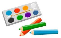 套艺术家的产品 免版税库存照片