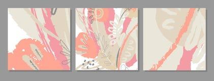 套艺术性的创造性的普遍卡片 免版税库存照片