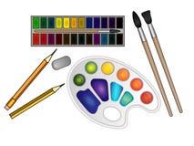 套艺术材料、文具、水彩油漆和刷子、油漆调色板,橡皮擦和铅笔 向量例证