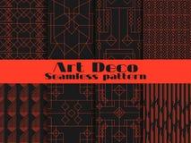 套艺术装饰的无缝的样式 线和几何图在背景 称呼1920年` s, 1930年` s 向量 免版税库存图片