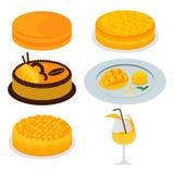 套芒果蛋糕和点心 免版税库存图片