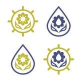 套花的eco商标,太阳和水下降 免版税库存照片