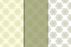套苍白橄榄绿花卉背景 仿造无缝 免版税库存照片