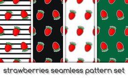 套草莓样式,无缝的纹理,墙纸 免版税图库摄影