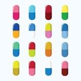 套药片,胶囊五颜六色的传染媒介例证 在白色 皇族释放例证
