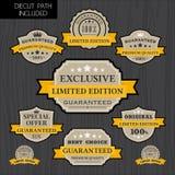 套葡萄酒与黄色丝带模板的标签设计 库存例证
