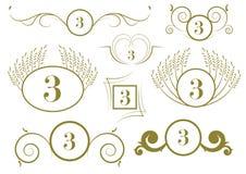 套葡萄酒书法设计要素和向量页装饰 免版税库存照片