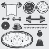 套葡萄酒健身房设备和设计元素 免版税库存照片