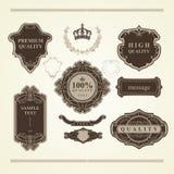 套葡萄酒元素:纹章,横幅,标签,框架,丝带 免版税库存图片