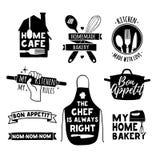 套葡萄酒减速火箭的手工制造徽章,标签和商标元素,面包店的减速火箭的标志购物,烹调俱乐部,咖啡馆,食物 库存照片
