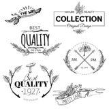 套葡萄酒和现代农厂商标标签 库存照片