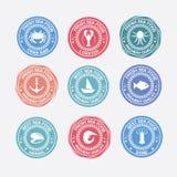 套葡萄酒和现代海鲜商标餐馆标签 免版税图库摄影